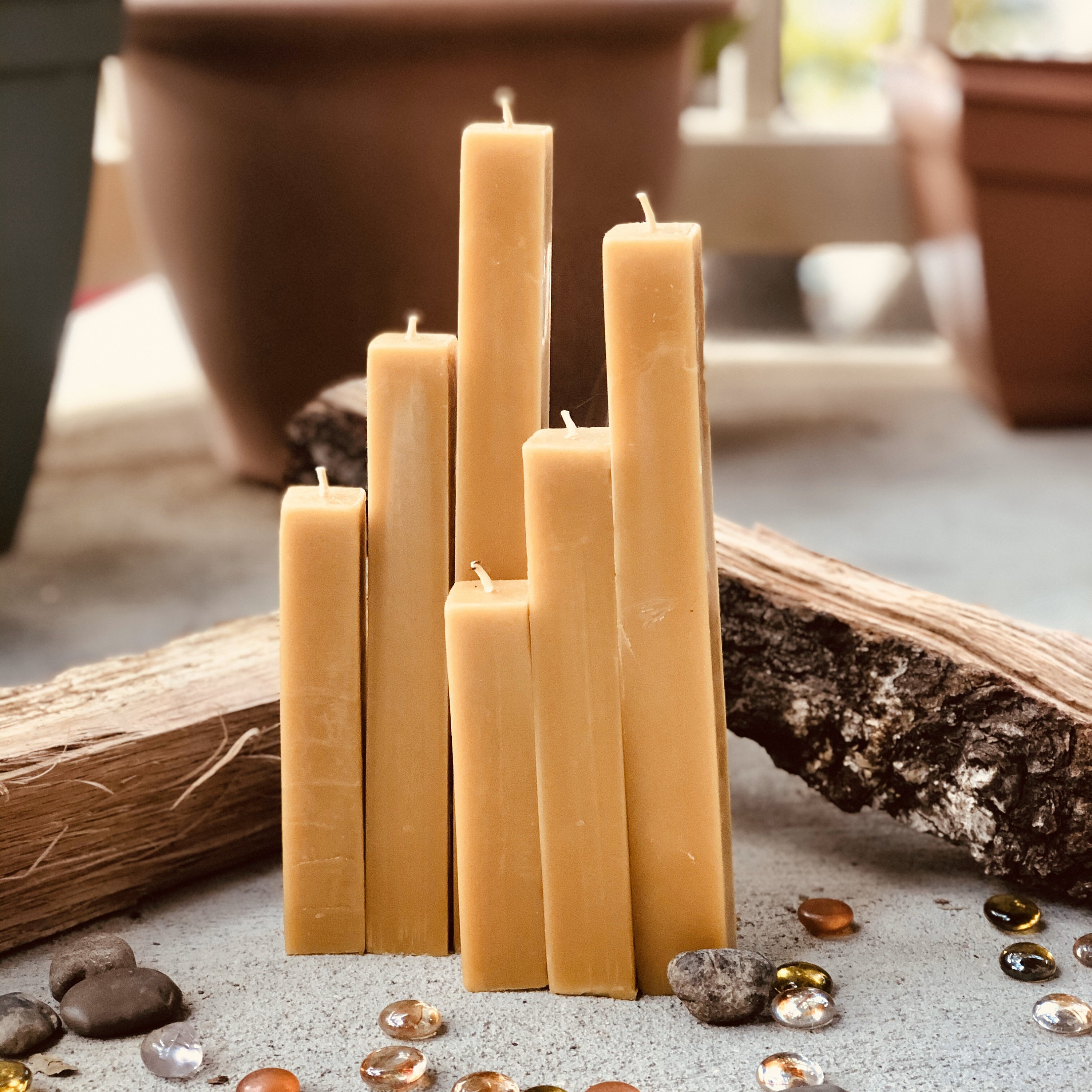 family-run /& Made In Canada 100/% Pure Beeswax by Gammys Beezwax Candles 3.4x3.5 Rustic Beeswax Pillar hand-poured