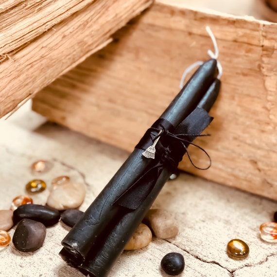 "100% Pure Beeswax Black Taper Candles. 8"" tall and ready for your Altar"