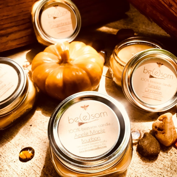 Warm Fall Scents-Free shipping-Set of 4 100% Pure Beeswax Candle-4/8oz jars of pure beeswax in a flat Mason Jar-organic beeswax