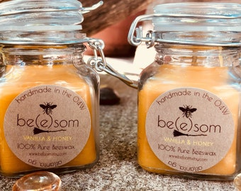 100% Pure Beeswax Candles-Vanilla Scented-Unscented-mini/Jar Candle-picnic candles-travel candles-Heilala Vanilla-organic beeswax candles
