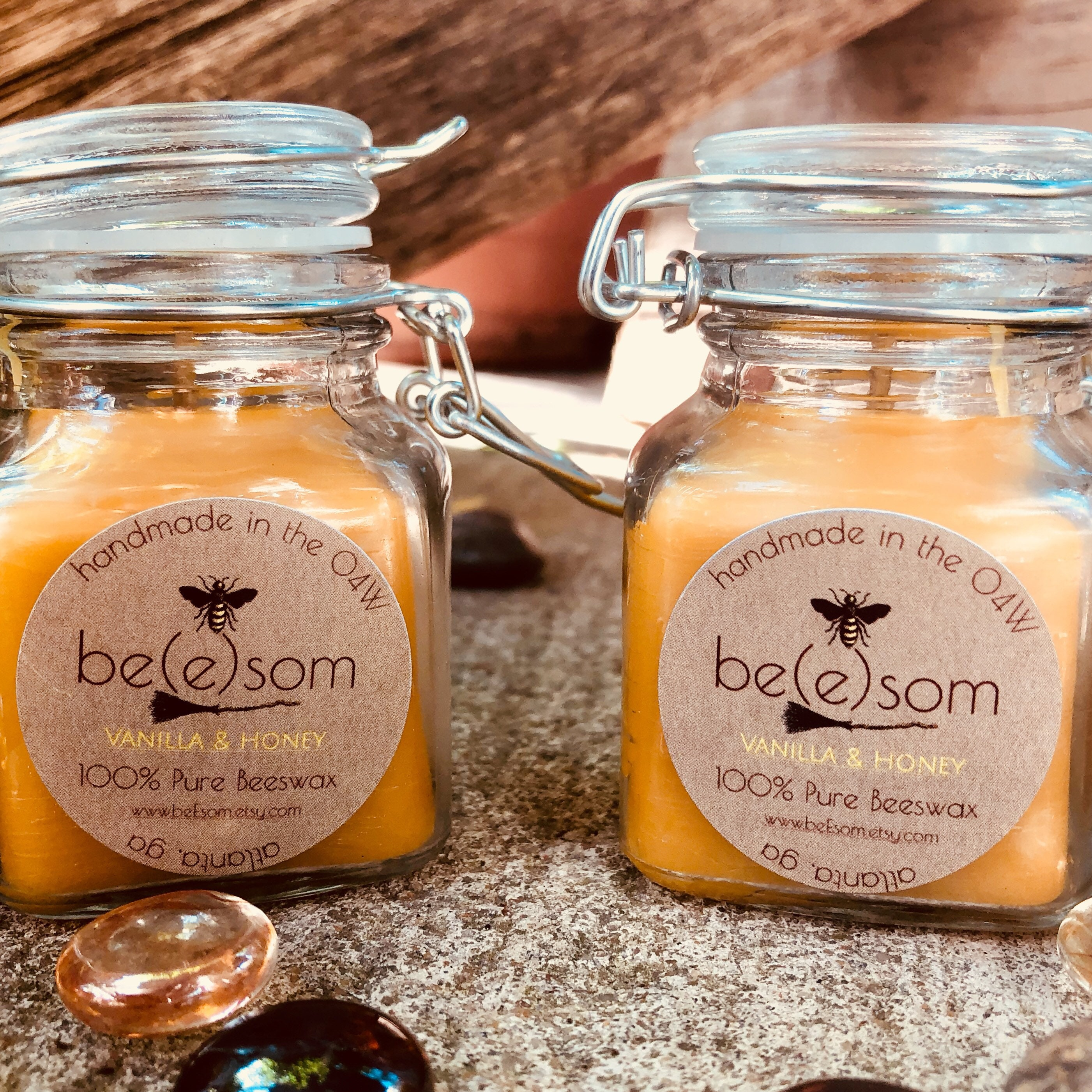 Cute Little Glass Jar Hand Poured Beeswax Honey Candles Free Shipping!