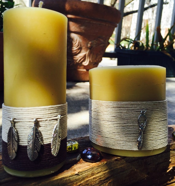 "100% Pure Beeswax Candles-""Charmed"" candles-organic beeswax candle-goddess charm-feather charm-ritual candle-pure organic beeswax candles"