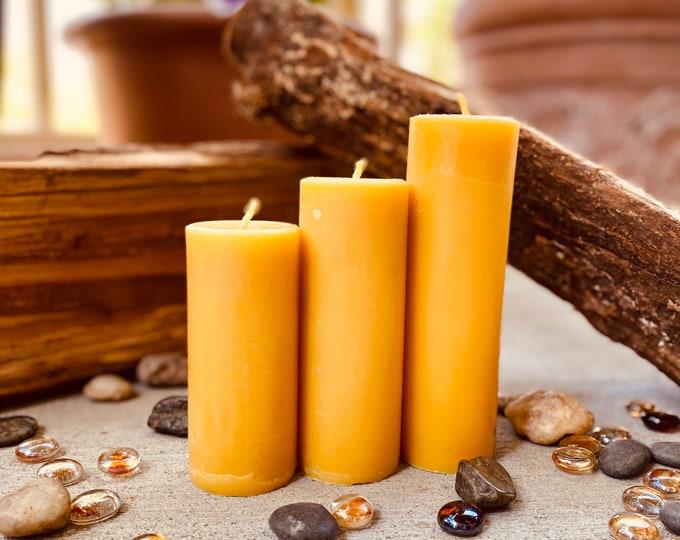 100% Pure Organic Beeswax pillar candles-Set of 3 beeswax pillar candles