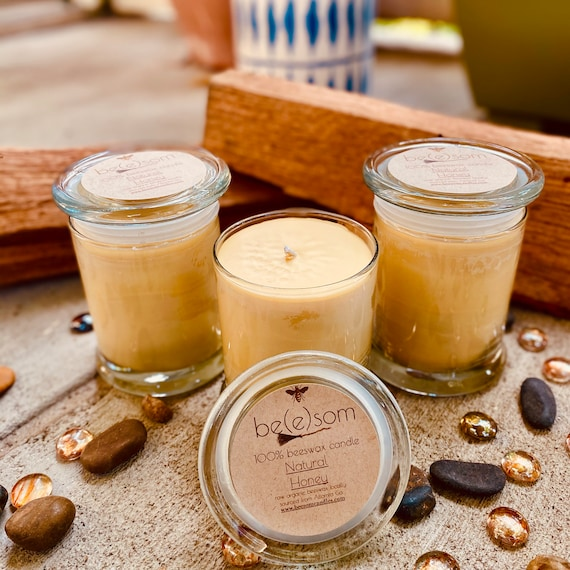 Pure organic beeswax candle in a 12oz glass jar topped with a glass lid-100% Pure Beeswax aromatherapy candles-beeswax candles