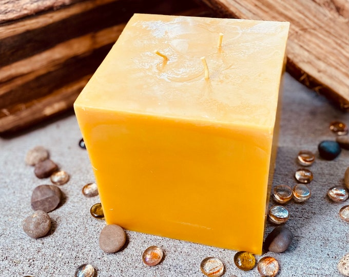 """100% Pure Beeswax candle cube-Very Unique 3 wick 6""""x6"""" Pure beeswax candle square-extra large candle-square candle-beeswax candle"""