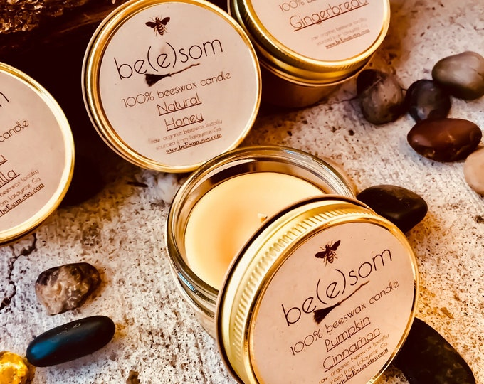 New Holiday Scents! Set of 4 100% Pure Beeswax 3oz jar candle. Natural Honey, Pumpkin Spice, Cinnamon and Gingerbread Scent. Free shipping