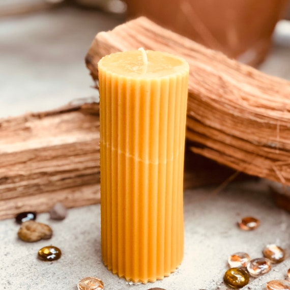 "100% Pure Beeswax Pillar Candle-2""x3""x6"" Oval Beeswax Pillar Candle-unique fluted beeswax pillar-Pure Organic Beeswax Candle"