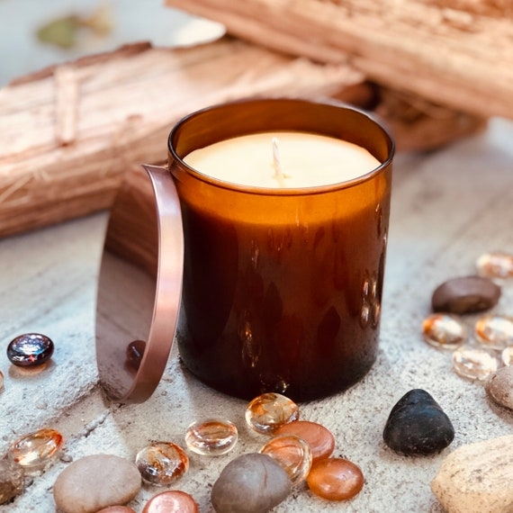 Pure organic beeswax candle in an amber glass jar topped with a bronze metallic lid-100% Pure Beeswax aromatherapy candles-beeswax candles
