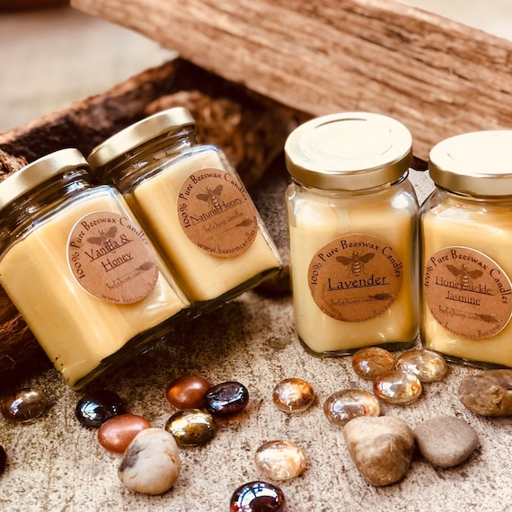 Free Shipping-100% Pure Beeswax Candles-Scented or Unscented-Set of 4 mini jar Candle-picnic candles-organic beeswax candles