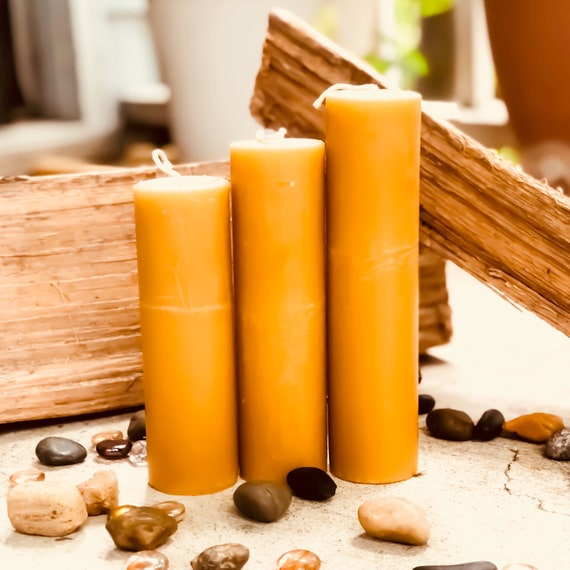 100% Pure Organic Beeswax pillar candles-Set of 3 beeswax pillar candles