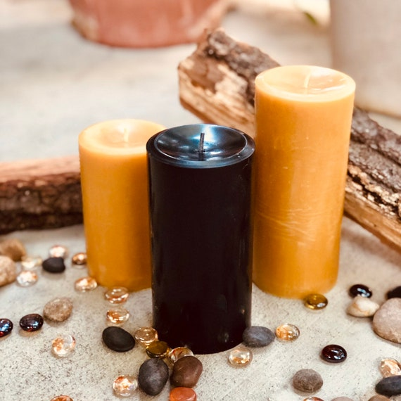 "100% Pure Beeswax Pillar Candles 3"" in diameter and up to 15"" tall"