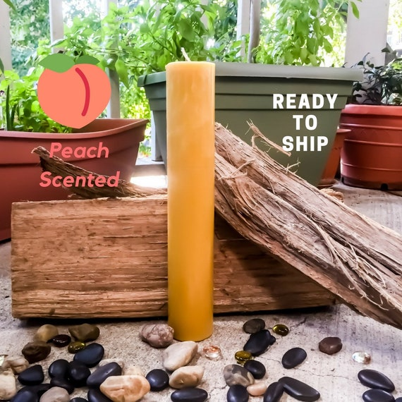 "100% Pure Beeswax candle-peach scented 15"" tall beeswax pillar candles-ready to ship-2 inch wide peach scented beeswax pillar"