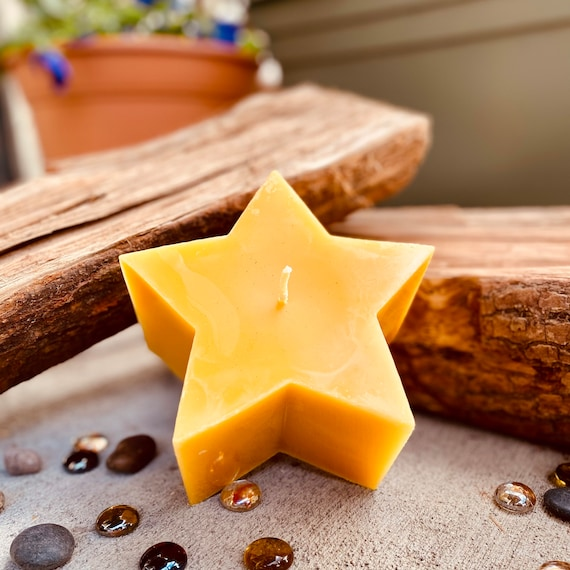 "100% pure beeswax Star shaped candle-beeswax star candle-5""x3"" star shaped beeswax candle-handmade"