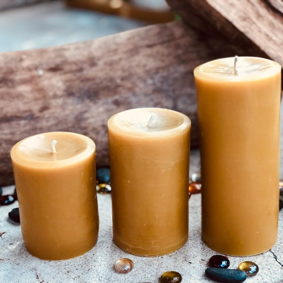 "Set of 3 100% Pure Beeswax 3"" diameter Pillar candles"