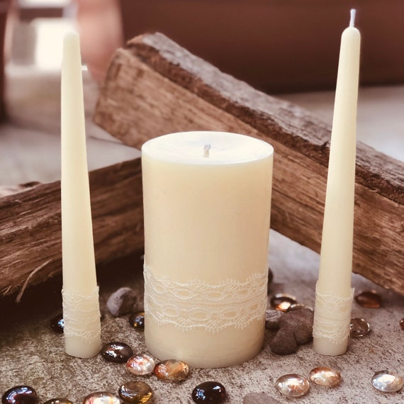 Free shipping-Unity Candle Set-Wedding Candles Set-100% Pure White Beeswax unity candle set-beeswax unity candles-organic white beeswax