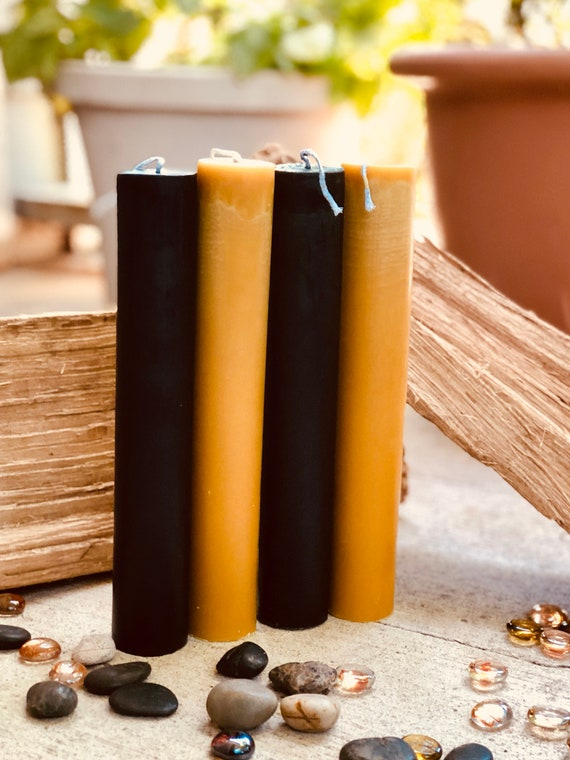 "Organic Pure Beeswax 1.5"" pillar black, white or natural honey beeswax candlestick-1.5inch pillar candles-pure organic beeswax pillar candle"