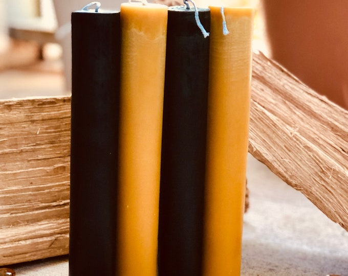 "Organic Pure Beeswax 1.5"" pillar black, white or natural honey beeswax candlestick-1.5inch pillar candles-pure organic beeswax pillar candle"