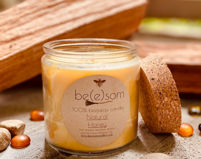 Pure organic beeswax candle in a 13oz large glass jar topped with a cork lid-100% Pure Beeswax aromatherapy candles-beeswax candles