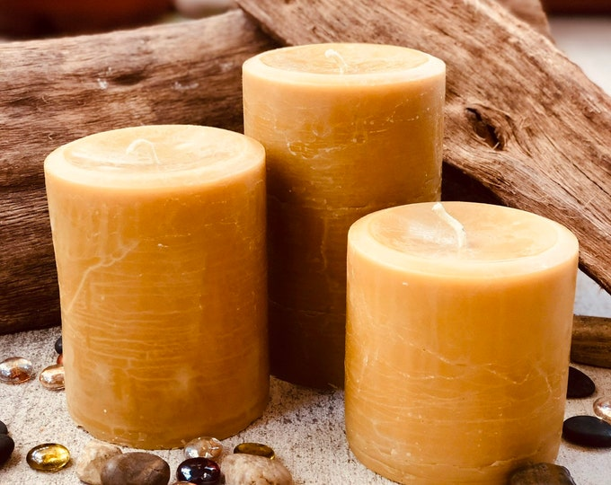"""Set of 3 organic beeswax candles-4"""" wide up to 6"""" tall-100% Pure Beeswax Pillar candle-natural beeswax-pure beeswax pillar candles"""