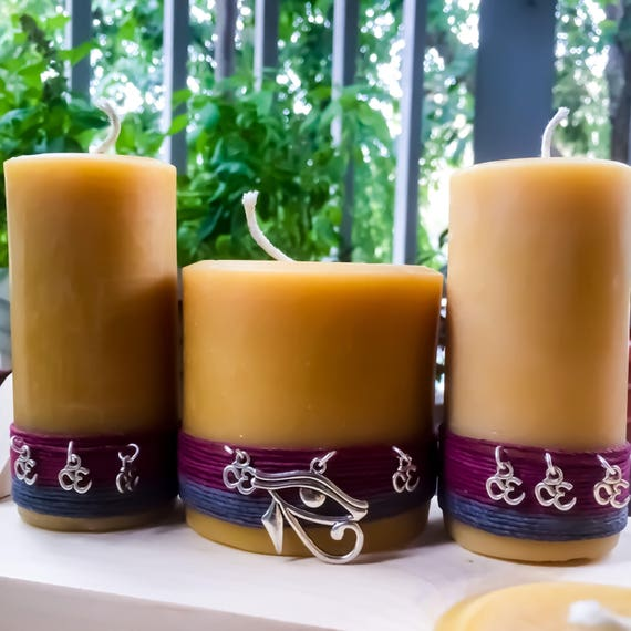 100% Pure Beeswax Candle Set. Charmed with The Eye of Ra