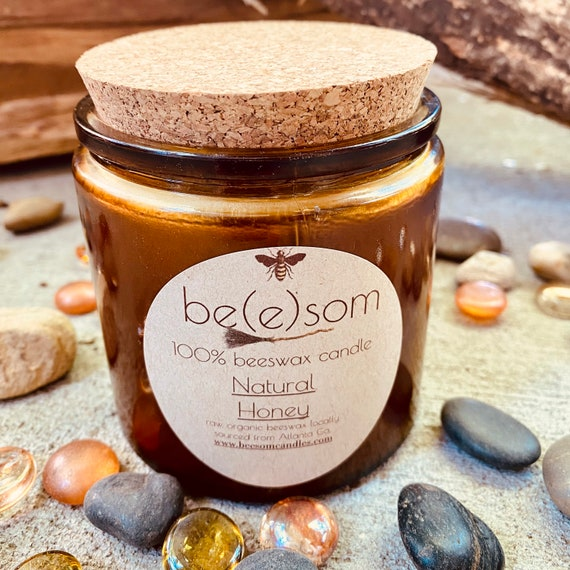Pure organic beeswax candle in a 13oz amber glass jar topped with cork lid-100% Pure Beeswax aromatherapy candle-beeswax candles-double wick