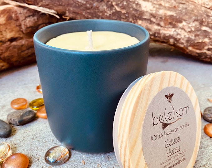 Pure organic beeswax candle in an dark grey ceramic jar topped with wooden lid-100% Pure Beeswax aromatherapy candles-beeswax candles