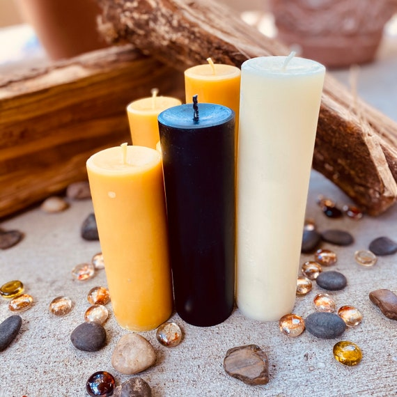 """100% Pure Beeswax Pillar Candle-2"""" wide up to 15"""" tall-pure beeswax pillar candles-yellow, black or white beeswax-handmade beeswax pillar"""