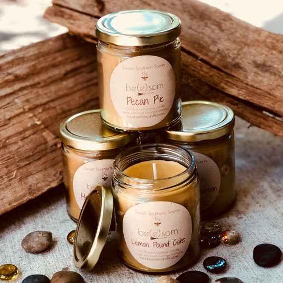 100% Pure Beeswax jar candle-set of 4 scented organic beeswax jar candle-organic pure beeswax jar candle-scented or unscented beeswax candle