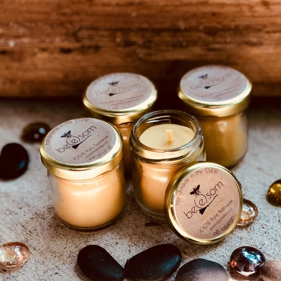 Free Shipping-100% Pure Beeswax Candles-set of 4-Scented or Unscented-mini/Jar Candle-picnic candles-wedding favors-organic beeswax candles
