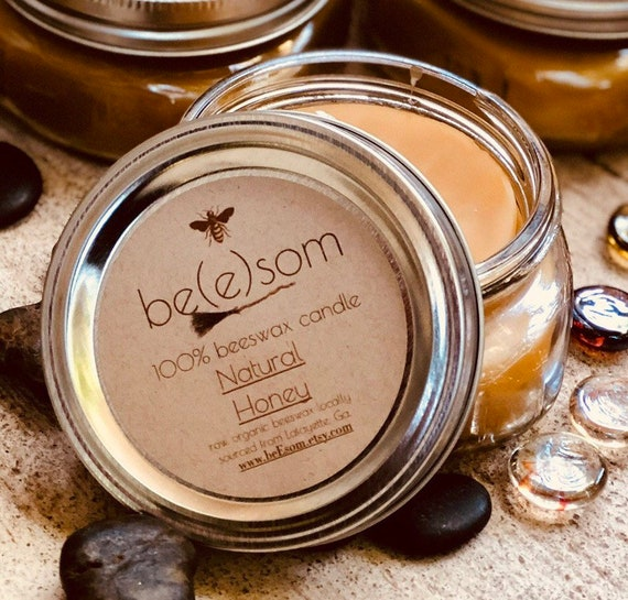 100% Pure Beeswax 8oz Jar Candle in Flat Mason Jar. Scented w/Pumpkin Apple Cinnamon, Heilala Vanilla, Sandalwood or unscented Natural Honey
