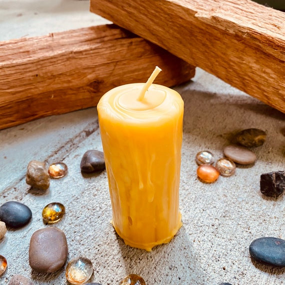 "Pure Beeswax Drip Pillar Candle 2"" wide & up to 9"" tall"