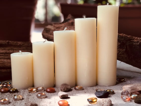 "Free Shipping-Set of 5 White Beeswax candles-100% Pure white Beeswax Pillar candle-2"" diameter beeswax candle-handmade white beeswax candles"