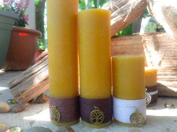 100% Pure Organic Beeswax Pillar Candle Gift set-gift set of charmed pure beeswax candles-organic handmade beeswax-tall beeswax pillars
