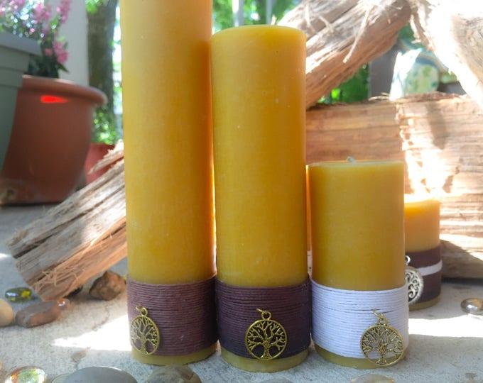 100% Pure Organic Beeswax Pillar Candle Gift set-gift set of charmed pure beeswax candles-organic handmade beeswax-tall beeswax pillars