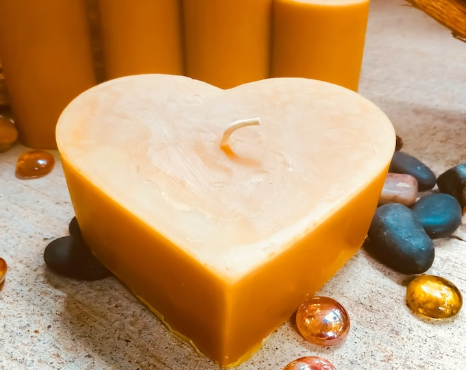 """100% pure beeswax heart shaped candle-large 4"""" heart candle-unique heart beeswax candles-organic beeswax"""