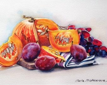 Pumpkin and plums painting Original Watercolor art painting Fine art   Wall art Kitchen decor Fruit painting Halloween decor Botanical