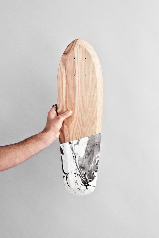 Skateboard Marbel Wooden Cruiser Rolling Wood Longboard Cruiserboard Handmade Mini Cruiser