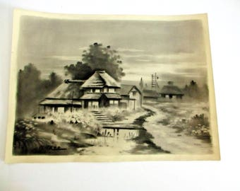 Vintage Japanese Watercolor Misty Village Garden Painting Black & White Home House Japan Landscape Signed Kitano