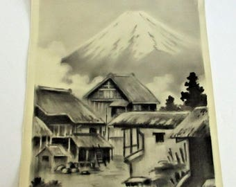 Vintage Japanese Watercolor Mt Mount Fuji Village Painting Black & White Signed Kitano