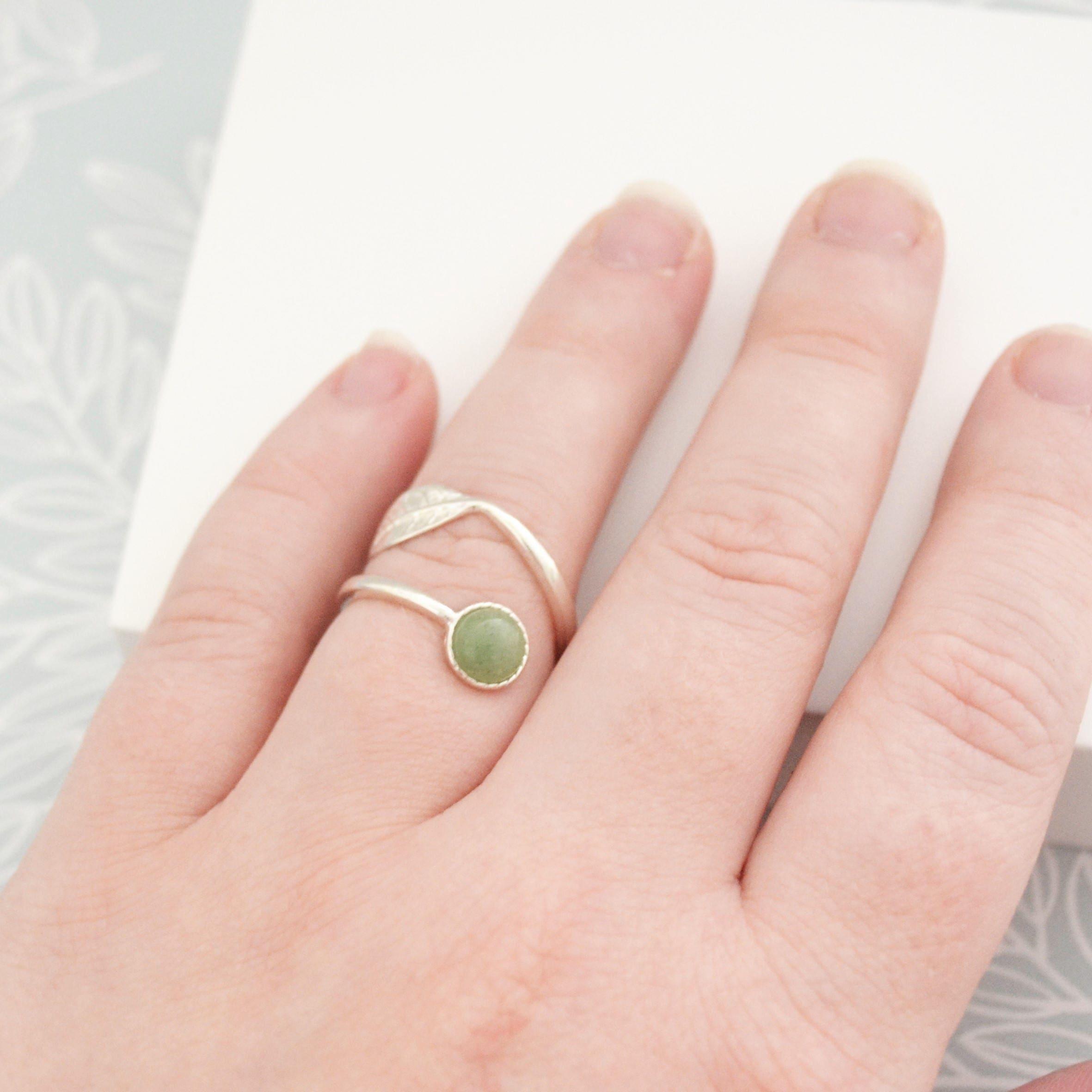Green Aventurine Ring Silver Sterling Sterling Silver Leaf | Etsy