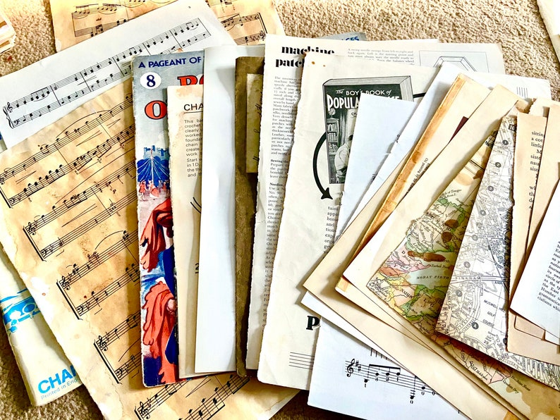 Mixed size paper ephemera/book pages for scrapbooking/junk image 0