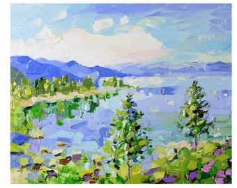"""Lake Tahoe Painting California Original Art Lake Tahoe Wall Art Landscape Oil Impasto Painting 8 by 10"""" by UVIRCOLOR"""