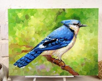 "Bluebird Painting Blue Jay Original Art Wild Bird Artwork Garden Wall Art Impasto Oil Painting 12 by 15"" by UVIRCOLOR"