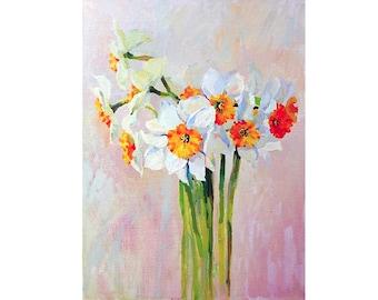 Daffodil Painting Original Art Daffodils 15 by 12 Floral Oil Painting Above Bed Art Daffodils Flower Artwork Daffodil Art By UVIRCOLOR