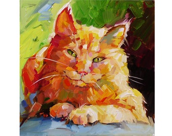 Cat Painting Original Art Animal Wall Art Pet Portrait Small Cat  Oil Painting 6 by 6 by Evgenia Korneeva