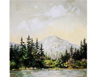 6x6 Mt Rainier Painting Original Lake Painting Seattle Skyline Small Landscape Lake Art Pacific Northwest Small Art Farmhouse Decor PNW