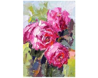 Peonies Painting Pink Flowers Original Art Peonies Original Painting