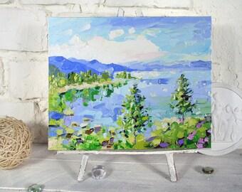 Lake Tahoe Painting California Original Art Lake Tahoe Landscape Oil Impasto Painting Lake Tahoe Wall Art Pine Tree Painting by UVIRCOLOR