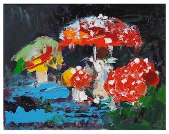 "Amanita Painting Mushroom Original Art Fly Agaric Artwork Moss Wall Art Oil Impasto Painting 8 by 6"" by UVIRCOLOR"