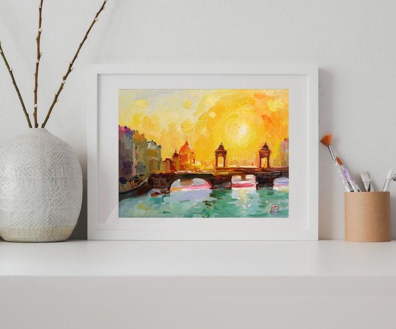 City Skyline Art Original Oil By Evgenia Korneeva UVIRCOLOR